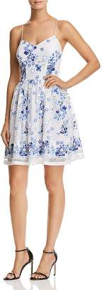 Aqua Floral Print Mesh Fit-and-Flare Dress - 100% Exclusive