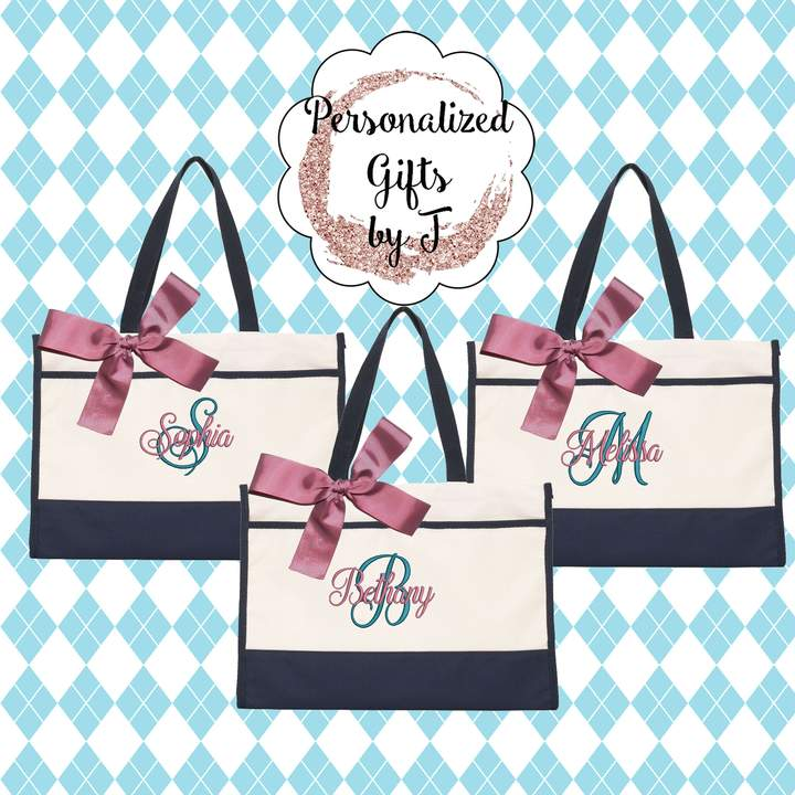 Etsy Monogrammed Tote Bag (Set of 10)- Bridesmaid Gift- Personalized Bridemaid Tote - Wedding Party Gift