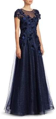 Teri Jon by Rickie Freeman Cap-Sleeve Applique Tulle A-Line Gown
