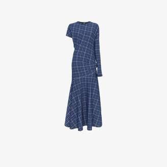 Calvin Klein single sleeve check asymmetric dress