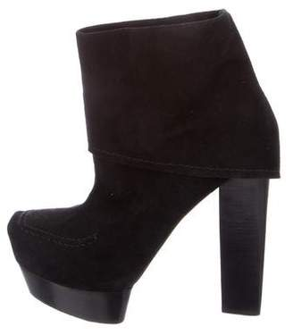 CNC Costume National Suede Square-Toe Ankle Boots