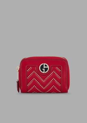 Giorgio Armani Chinese New Year Nappa Leather Coin Purse With Chevron Studs