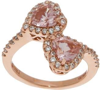 Diamonique and Simulated Morganite Heart Ring 14K Rose Clad