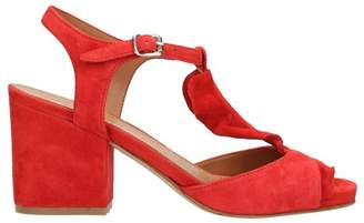 Julie Dee Red Ruffles Suede Sandals