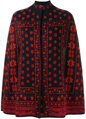 Alexander McQueen floral jacquard knit cape $2,001 thestylecure.com