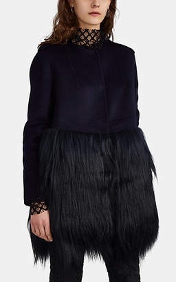 Barneys New York Women's Wool Melton & Long Goat Hair Coat - Navy
