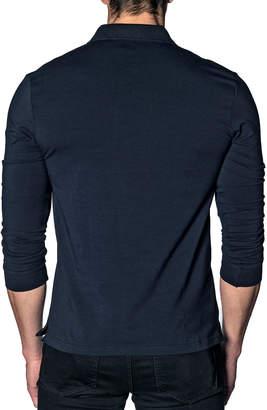 Jared Lang Men's Long-Sleeve Floral-Placket Polo Shirt
