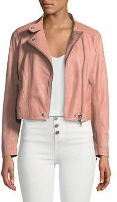 Club Monaco Rowlen Zip-Front Leather Moto Jacket