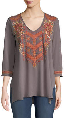Johnny Was Ellim 3/4-Sleeve Embroidered Drape Knit Top, Plus Size