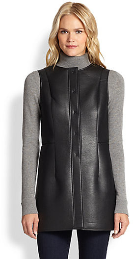Saks Fifth Avenue Collection Faux-Leather Long Vest