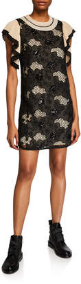 Anna Sui Sui by Embroidered Lace Ruffle Shift Dress