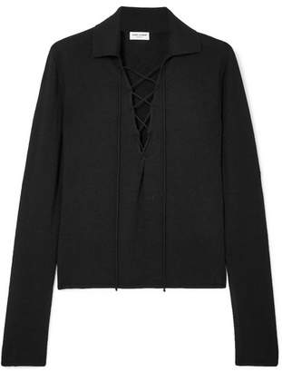 Saint Laurent Lace-up Cashmere And Silk-blend Top
