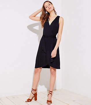 LOFT Petite Dotted Sleeveless Wrap Dress