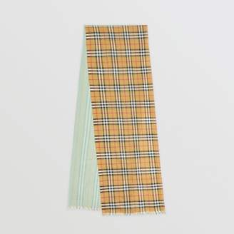 Burberry Vintage Check Colour Block Wool Silk Scarf, Green