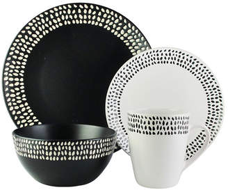 American Atelier Aylin Black and White 16 Pc Dinnerware Set