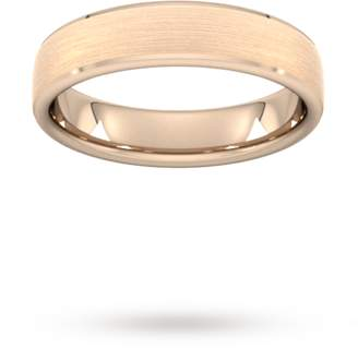 5mm Flat Court Heavy Polished Chamfered Edges With Matt Centre Wedding Ring In 9 Carat Rose Gold