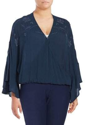 Lucky Brand Plus Embroidered Wrap Top