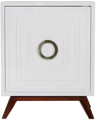 Worlds Away White Lacquer Nightstand With Hardwood Base