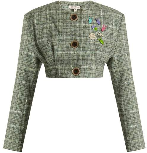 Collarless cropped wool-blend tweed jacket