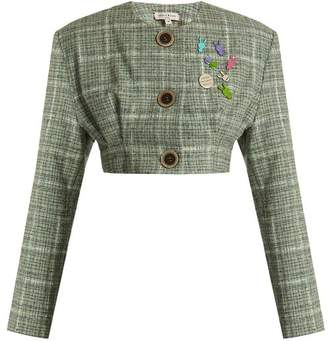 Natasha Zinko Collarless cropped wool-blend tweed jacket