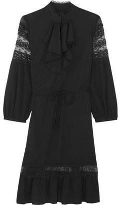 Anna Sui Ruffled Lace-Trimmed Crepe De Chine Mini Dress