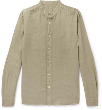 120% Grandad-Collar Garment-Dyed Linen Shirt