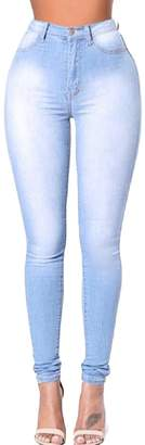 Vska Women's Oversize High Waist Stretch Bodycon Stylish Plus Size Jeans S