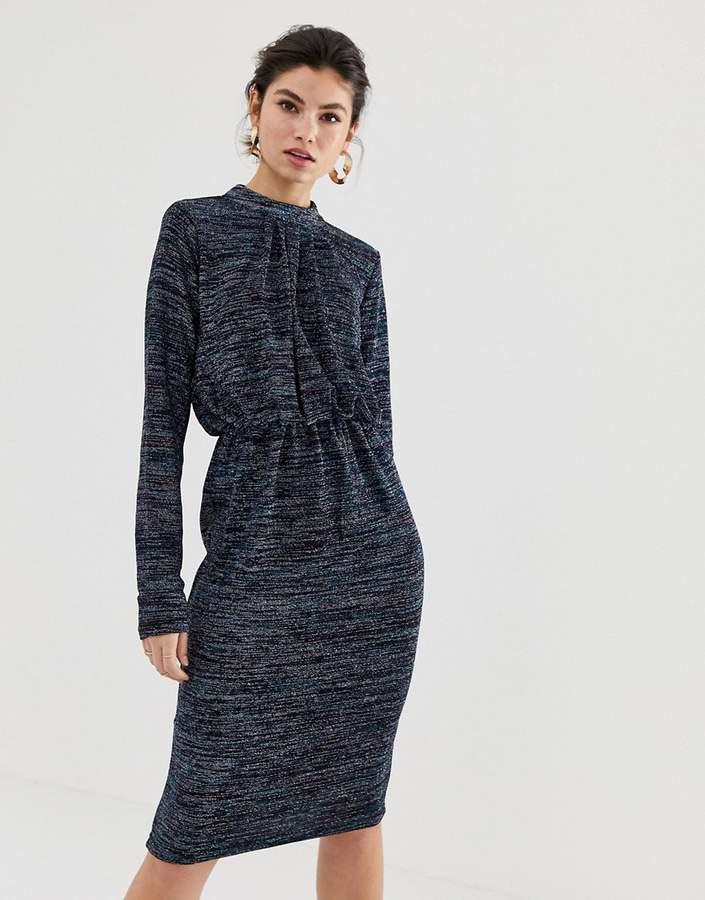 Y.A.S glittery high neck dress