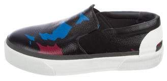Lanvin Printed Leather Slip-On Sneakers