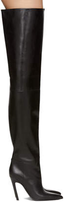Balenciaga Black Leather Over-the-Knee Boots