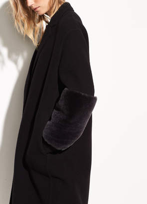 Oversized Shearling Band Wool Coat