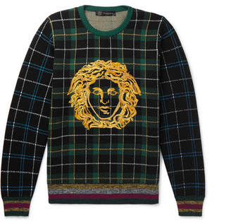 Versace Logo-Embroidered Tartan Wool Sweater