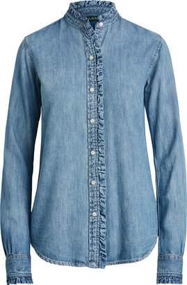 Ralph Lauren Ruffle-Trim Denim Shirt