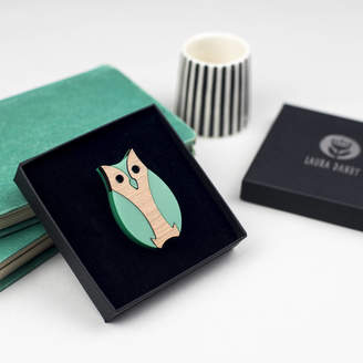 Laura Danby Owl Brooch Made From Green Acrylic And Wood