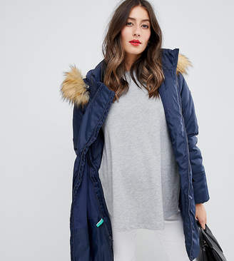 Modern Eternity 3 in 1 padded parka coat with detachable faux fur hood