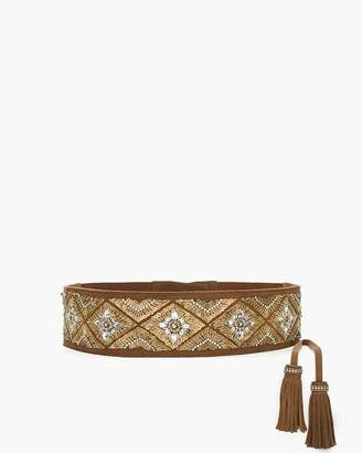 Chico's Beaded Suede Tie Belt