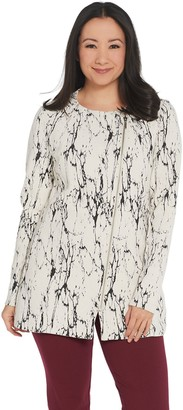 Halston H By H by Textured Knit Long Moto Jacket