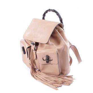 Gucci Bamboo Beige Leather Backpacks