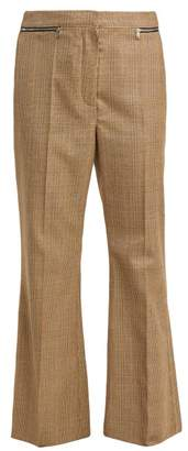 Sonia Rykiel Prince Of Wales Check Flared Wool Trousers - Womens - Beige Multi
