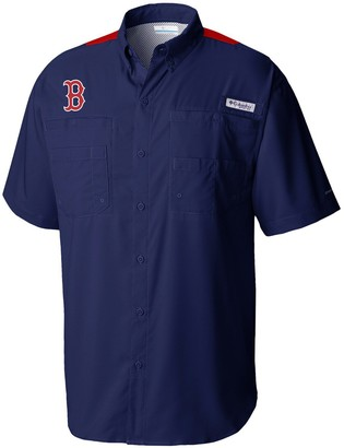 Columbia Unbranded Men's Navy/Red Boston Red Sox Tamiami Colorblock Button-Down Omni-Shade Shirt