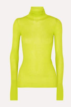 Joseph Neon Ribbed Cashmere Turtleneck Sweater - Green