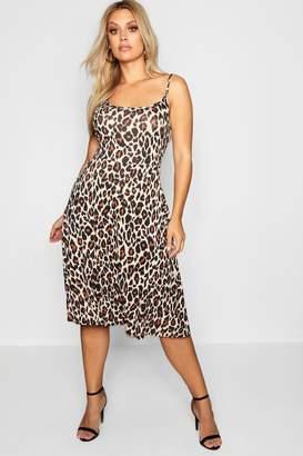 boohoo Plus Animal Jersey Midi Skater Dress