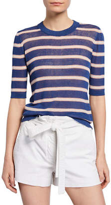 Veronica Beard Dean Striped Elbow-Sleeve Sweater