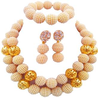 laanc 2 Rows monochrome Beads Plastic Imitation pearl and Gold Plated Ball African Wedding Jewellery Sets
