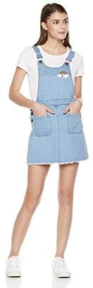 Parker Lily Women's Rainbow Patch Adjustable Strap Denim Overall Dress (