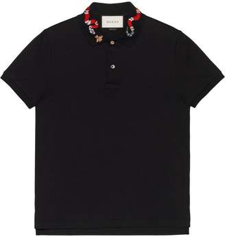 Gucci polo with snake embroidery