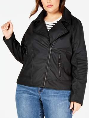 Celebrity Pink Juniors' Plus Size Faux-Leather Jacket