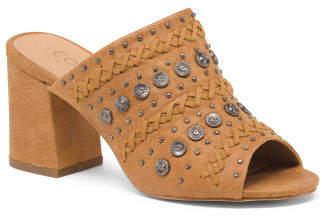 Block Heel Peep Toe Mules