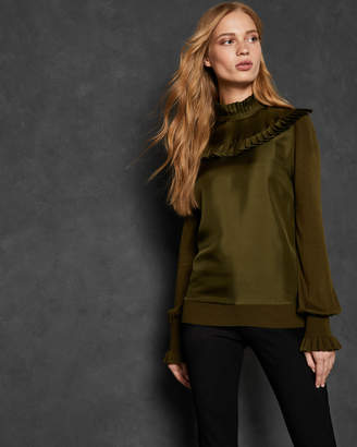 Ted Baker TAYTIEE Frill bib high neck long sleeve top