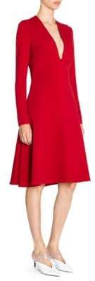 Stella McCartney Women's Stretch Cady Low Neck Long Sleeve Dress - Red - Size 40 (6)